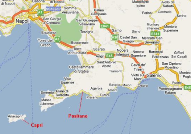 Map Of The Amalfi Coast Italy Positano